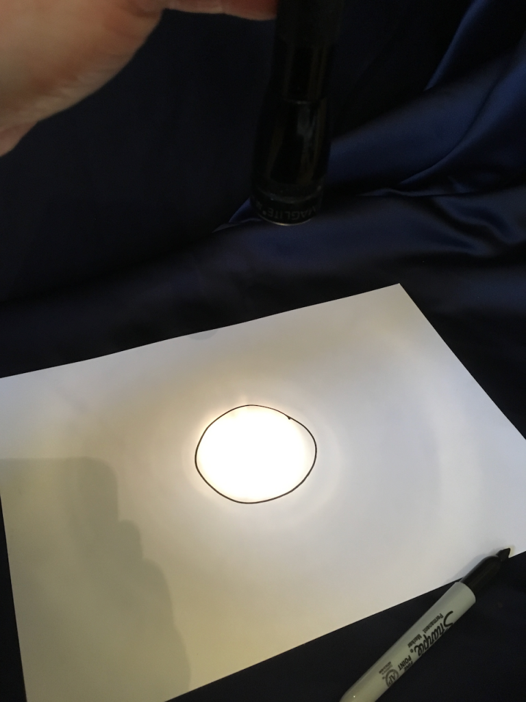Step 4: draw around the shape made by the light on the paper