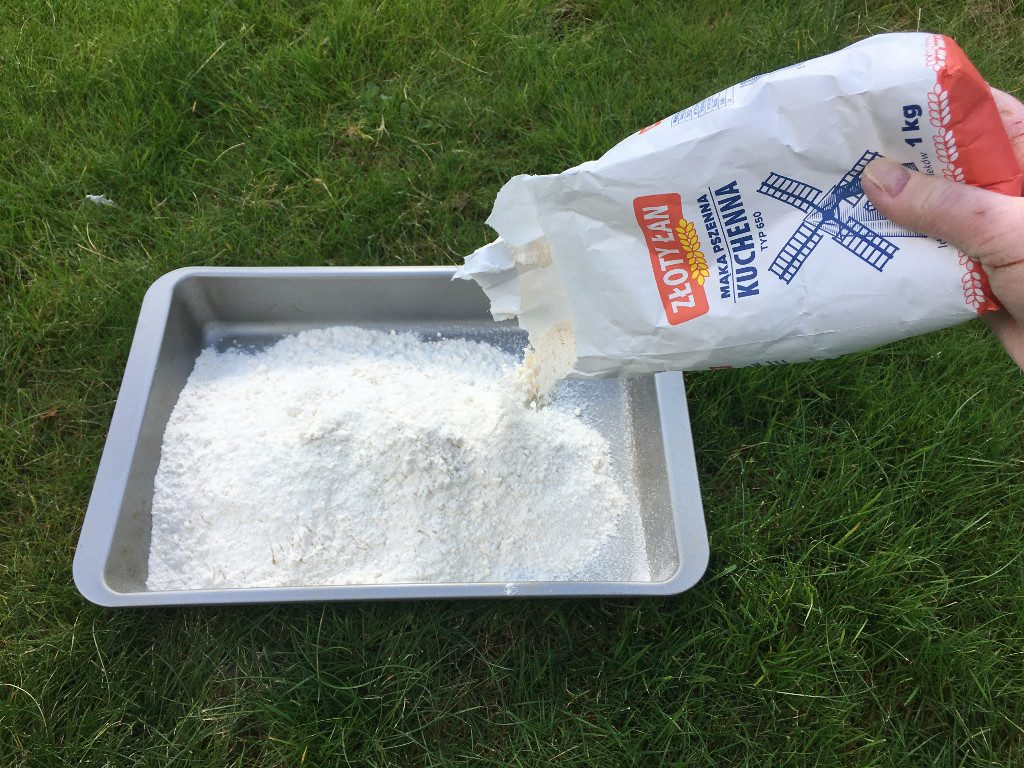 Step 3: empty a bag of flour into the tray